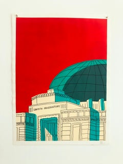 """""""Griffith Observatory""""- Red Acrylic & Ink on Paper"""