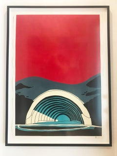 """""""Hollywood Bowl"""" -Red Acrylic & Ink on Paper Framed"""