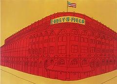 """NYC Ebbets Field Brooklyn""- Acrylic & Ink on Paper Framed"