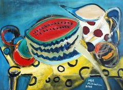 Still life with a watermelon - XX Century, Acrylic & Oil Painting, Bright Colors