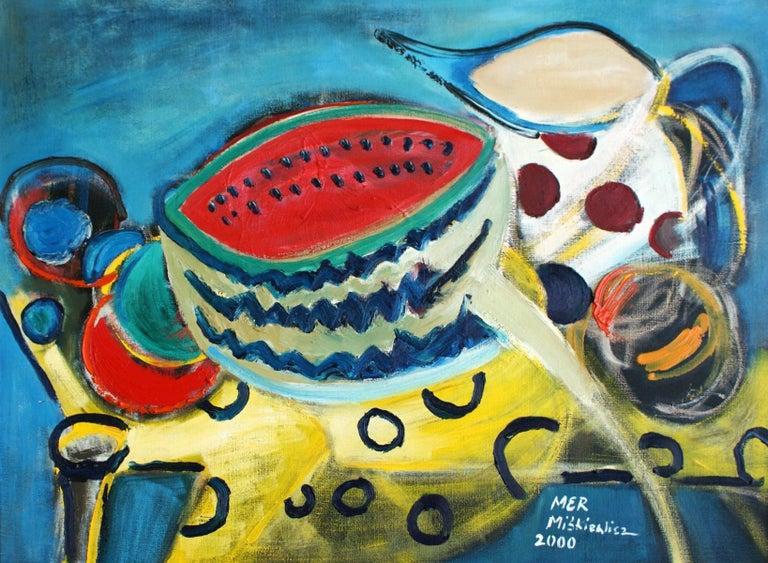 Still life with a watermelon - XX Century, Acrylic & Oil Painting, Bright Colors - Art by Marzena Miskiewicz