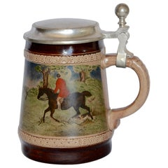 Marzi and Remy German Beer Stein with Fox Hunting Scene Midcentury