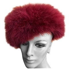Marzi Firenze 1980's Red Feather Knit Beret Hat for Neiman Marcus