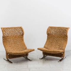 Marzio Cecchi, Pair of Low Knitted Lounge Chairs, IT, c. 1970s