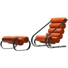 Marzio Cecchi 'Balestra' Lounge Chair with Ottoman in Fire Orange Leather