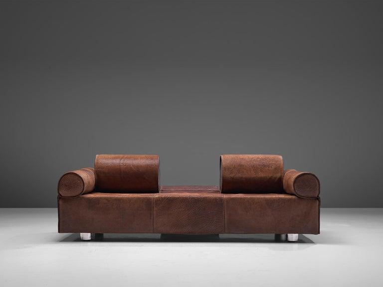Marzio Cecchi Brown Buffalo Leather Sofa For Sale 3