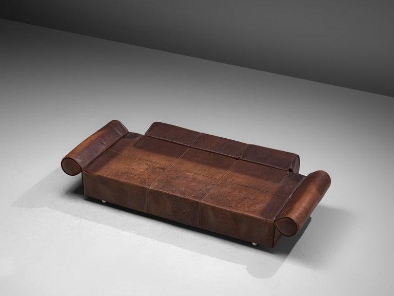 Marzio Cecchi Brown Buffalo Leather Sofa For Sale 4
