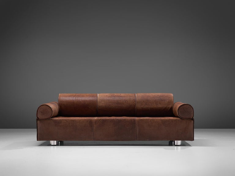 Marzio Cecchi, sofa, leather and metal, by Italy, 1970s   Rare daybed by Italian designer Marzio Cecchi. This sofa is made of thick dark brown buffalo leather. An admirable patina is visible on the leather. Traces of age and use has created a