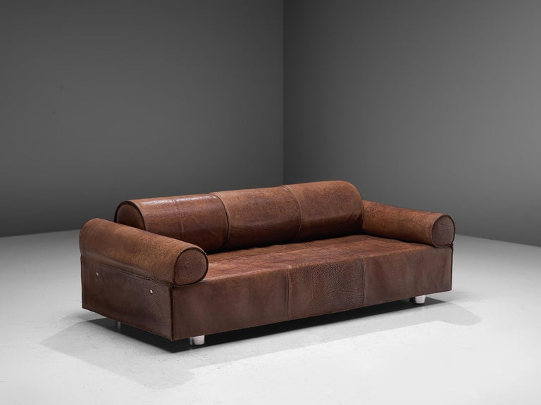 Mid-Century Modern Marzio Cecchi Brown Buffalo Leather Sofa For Sale