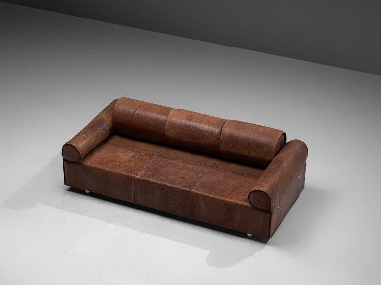 Italian Marzio Cecchi Brown Buffalo Leather Sofa For Sale