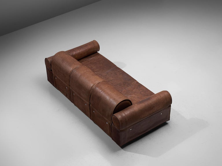 Marzio Cecchi Brown Buffalo Leather Sofa In Good Condition In Waalwijk, NL