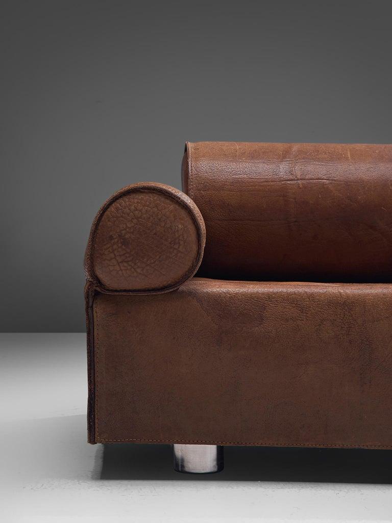 Late 20th Century Marzio Cecchi Brown Buffalo Leather Sofa For Sale