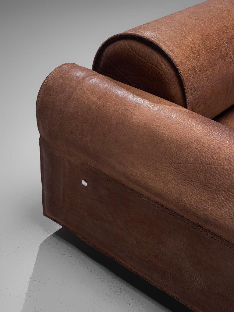 Metal Marzio Cecchi Brown Buffalo Leather Sofa For Sale