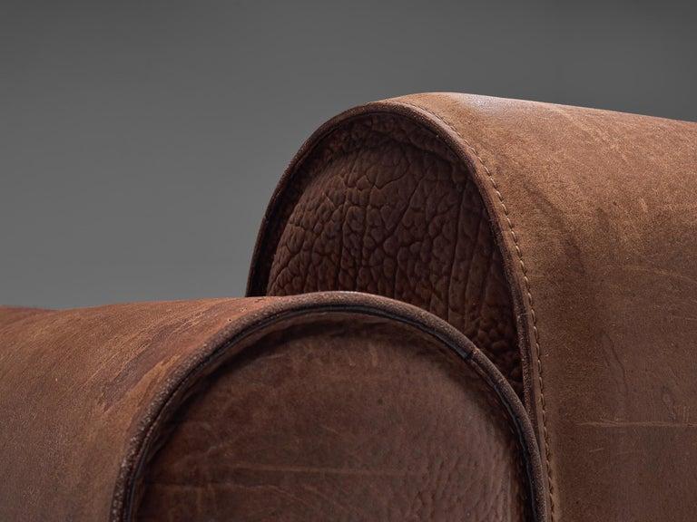 Marzio Cecchi Brown Buffalo Leather Sofa For Sale 1
