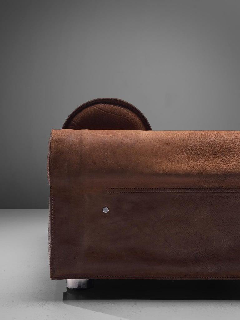 Marzio Cecchi Brown Buffalo Leather Sofa For Sale 2