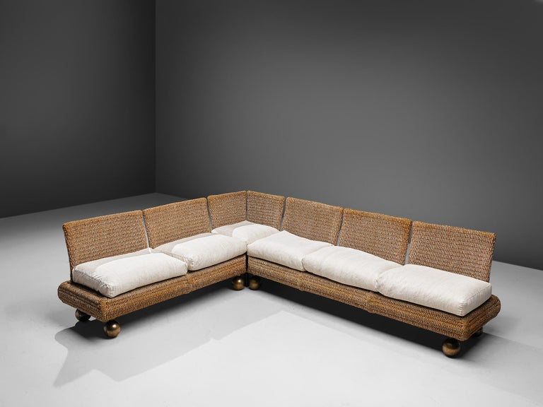 Marzio Cecchi for Studio Most, sectional sofa, metal, bronze, ropeand upholstery, Italy, circa 1977  This large sectional sofa by Marzio Cecchi features an interesting design with a woven rope frame. It is separated in two parts, allowing the