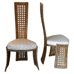 Marzio Cecchi for Studio Most Set of Two Sculptural Rattan Chairs, Italy 1980s