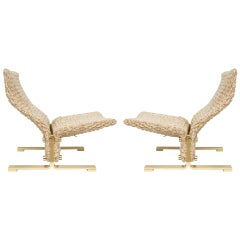 Marzio Cecchi Lounge Chairs, Woven Rope and Brass