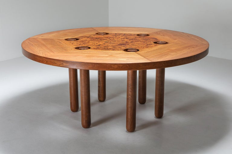 Italian design round dining table by Marzio Cecchi, oak, burl