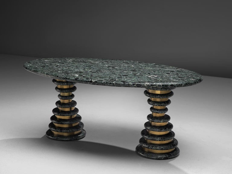 Mid-Century Modern Marzio Cecchi Oval Green Marble Dining Table For Sale