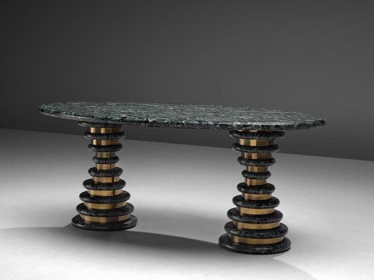 Italian Marzio Cecchi Oval Green Marble Dining Table For Sale