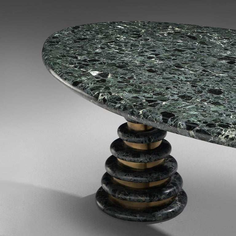 Marzio Cecchi Oval Green Marble Dining Table In Good Condition For Sale In Waalwijk, NL
