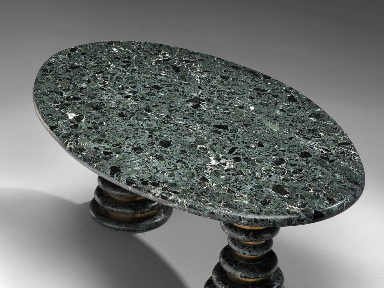 Brass Marzio Cecchi Oval Green Marble Dining Table For Sale