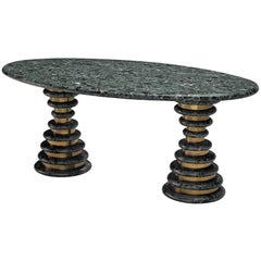 Marzio Cecchi Oval Green Marble Dining Table