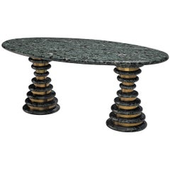 Marzio Cecchi Oval Green Marble Table