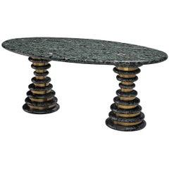 Marzio Cecchi Oval Green Marble Table