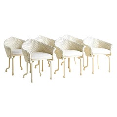 Marzio Cecchi Pair of Ivory Stitched Leather Dining Chairs