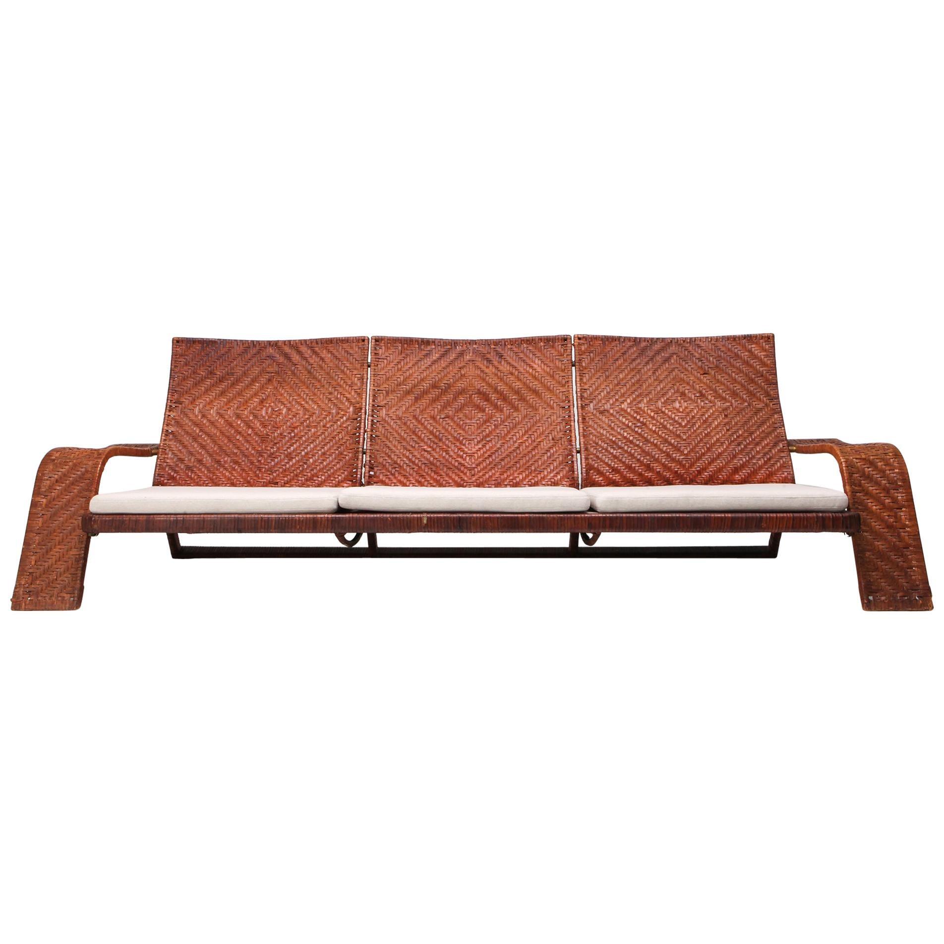 Marzio Cecchi Woven Leather Postmodern Sofa