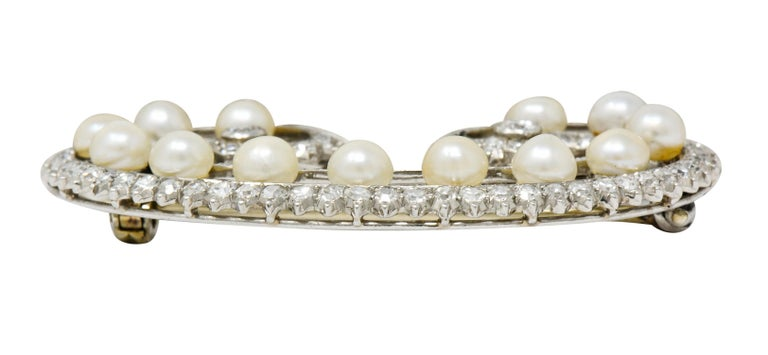 Marzo Paris Art Deco 2.15 Carat Diamond Pearl Platinum Scrolled Paisley Brooch 5