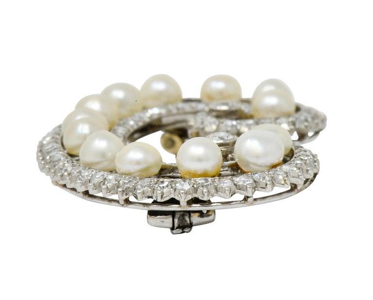 Marzo Paris Art Deco 2.15 Carat Diamond Pearl Platinum Scrolled Paisley Brooch 6