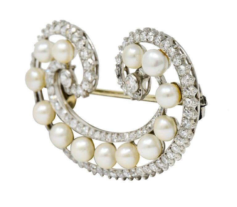 Brilliant Cut Marzo Paris Art Deco 2.15 Carat Diamond Pearl Platinum Scrolled Paisley Brooch