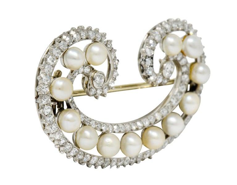 Marzo Paris Art Deco 2.15 Carat Diamond Pearl Platinum Scrolled Paisley Brooch In Excellent Condition In Philadelphia, PA