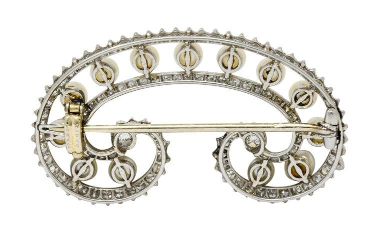 Women's or Men's Marzo Paris Art Deco 2.15 Carat Diamond Pearl Platinum Scrolled Paisley Brooch