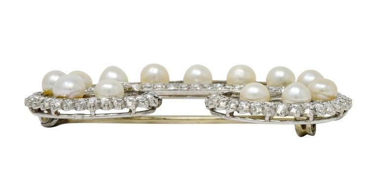 Marzo Paris Art Deco 2.15 Carat Diamond Pearl Platinum Scrolled Paisley Brooch 3