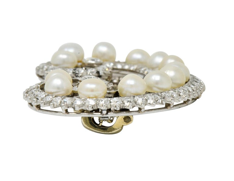 Marzo Paris Art Deco 2.15 Carat Diamond Pearl Platinum Scrolled Paisley Brooch 4