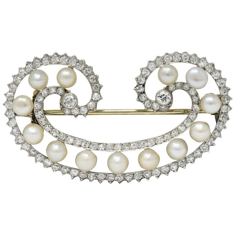 Marzo Paris Art Deco 2.15 Carat Diamond Pearl Platinum Scrolled Paisley Brooch