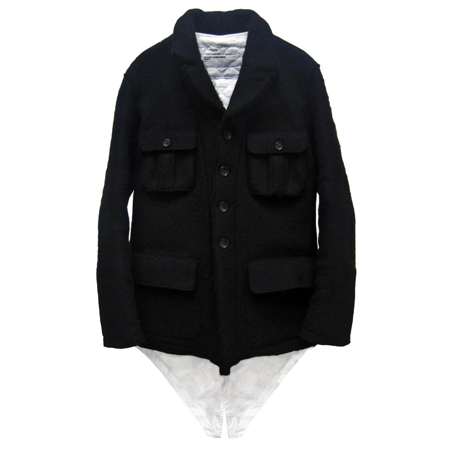 Masaki Matsushima Homme Heavy Wool Black Jacket Coat removable lining 1990s