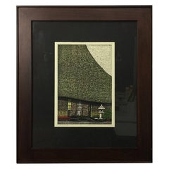 Masao Ido Limited Edition Signed Japanese Woodblock Print of Temple