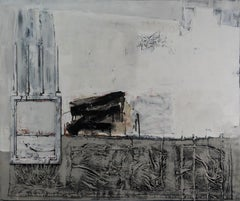 New Generation 1 - Abstract Painting, White, Gray, Oil, 21st Century, Layered