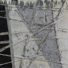 Optical Position of Perspective - Abstract Painting, Black & White, 21st Century