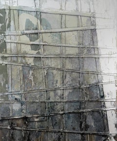 That Curtain Something - Abstract Painting, Gray, White, 21st Century, Layered