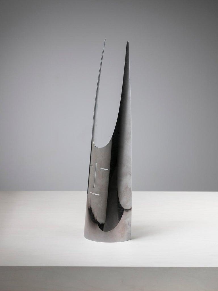 Evocative silver plated Maschera Cornuta sculpture by Gio Ponti for Sabattini Argenteria