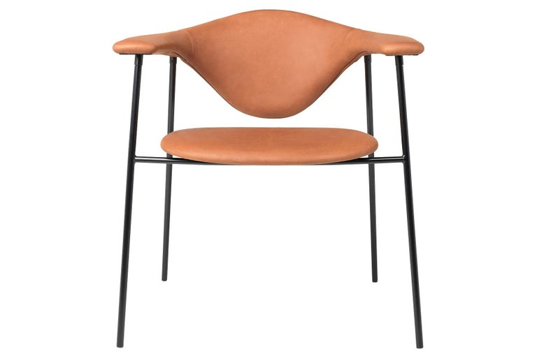 Polished Masculo Dining Chair, Fully Upholstered, 4 Leg For Sale