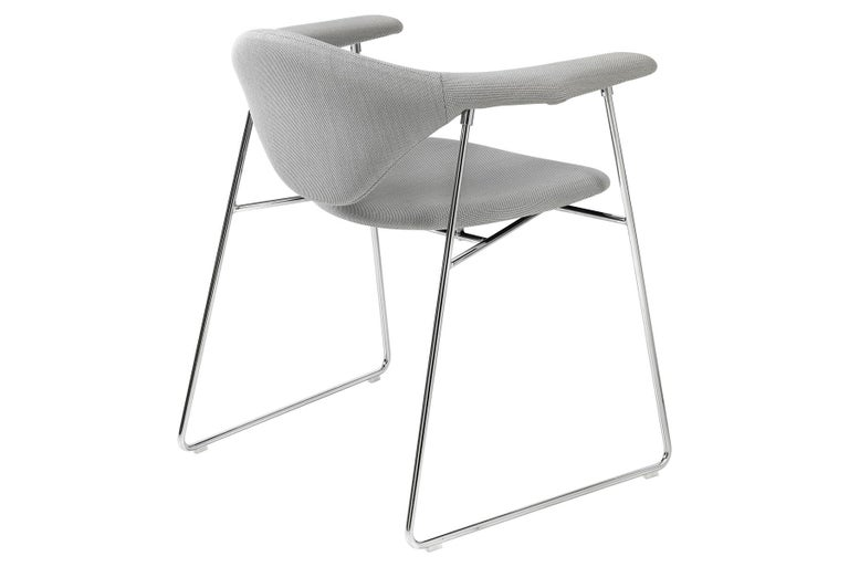 Masculo Dining Chair, Fully Upholstered, Sledge Base For Sale 2