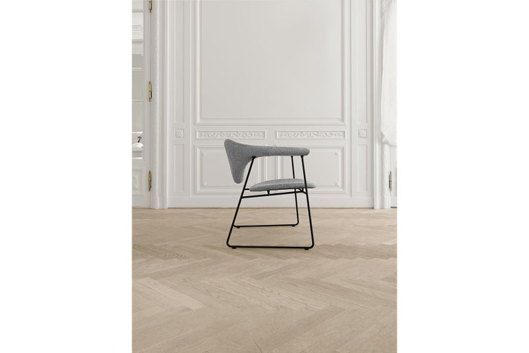 Masculo Dining Chair, Fully Upholstered, Sledge Base For Sale 3