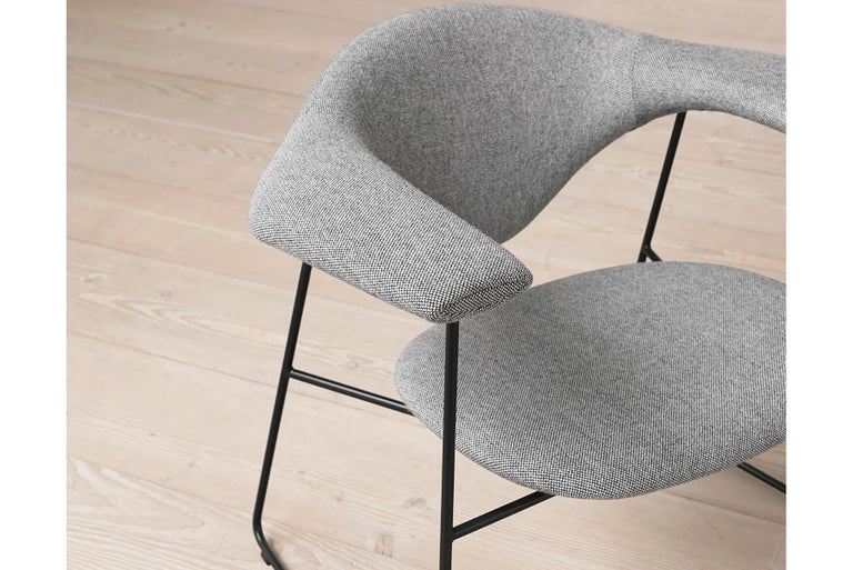 Masculo Dining Chair, Fully Upholstered, Sledge Base For Sale 6